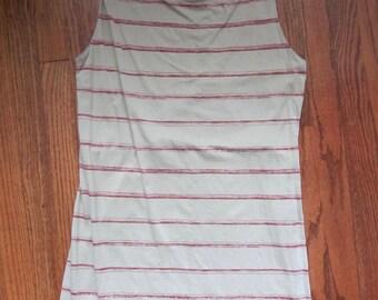Vintage 90s Patagonia Light Gray Purple Striped Sleeveless Stretch Dress