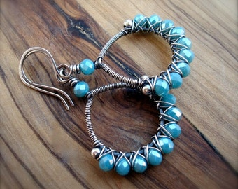 Wire wrapped earrings - Turquoise earrings - Sterling silver earrings - Hoop earrings - Blue earrings - Crystal earrings - Gift for women