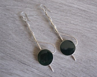 Sterling Silver and Green Enamel Drop Earrings