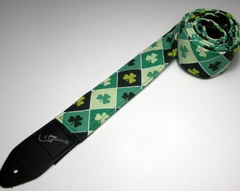 Handmade double padded guitar strap, IRISH ARGYLE