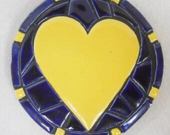 Mosaic Wall Art Handmade Ceramic Tile Blue / Yellow HEART coaster, wall plaque