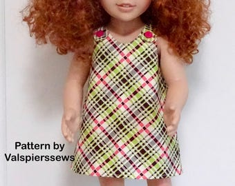 "2047 Valspierssews Doll Clothes Pattern, A-Line Pinafore, Fits 20"" Dolls like Australian Girl Doll, Easy Pattern"