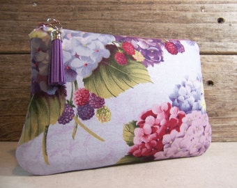 Clutch or Cosmetic bag in a beautiful purple hydrangea fabric with waterproof washable lining - Make up bag or custom bag for wedding.