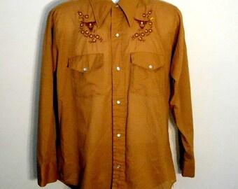 Vintage Western Long Sleeve PEARL SNAP Shirt Steer EMBROIDERY Medium