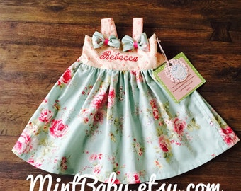 Spring Dress, Toddler Dress, Baby Dress, Flower Girl Dress, Birthday Dress, Pink and Blue Dress, Summer Dress, Bow Dress