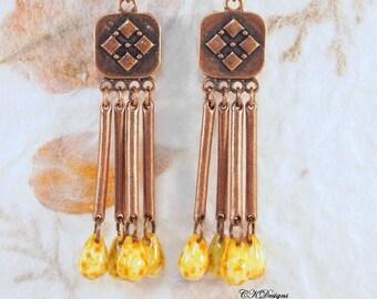 Czech Bead Earrings, Copper Boho Style Earrings , Copper and Czech Glass Pierced or Clip-on Earrings,  Handmade Earrings. CKDesigns.US