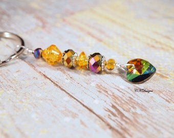 Heart Keyring, Rainbow Glass Heart Key Chain, Colorful beaded Key Chain, Gift for Her, Bag Charm, OOAK Handmade Keychain. Gift for Her.