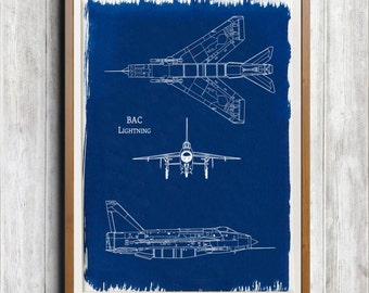 BAC Lightning A4 Hand coated traditionally made cyanotype blueprint