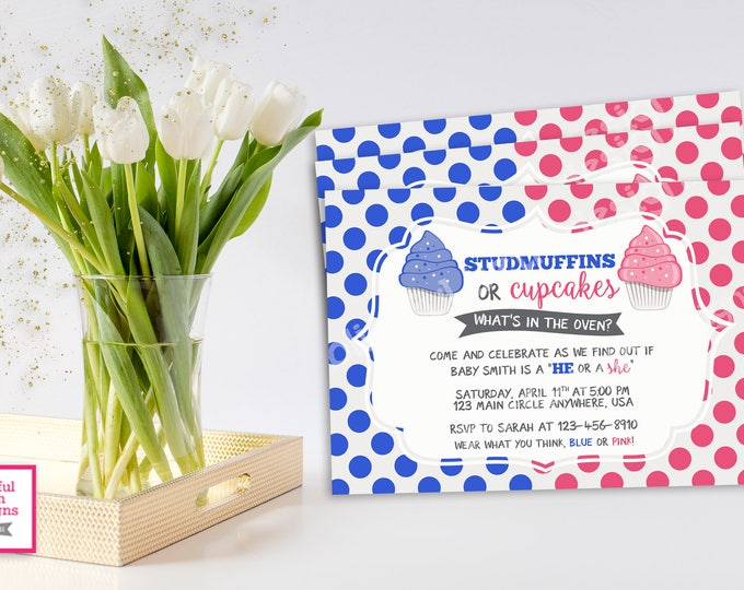 STUDMUFFIN OR CUPCAKE,  Gender Reveal Invitation, Studmuffin or Cupcake Gender Reveal, Gender Reveal Party, Gender Reveal Party, Gender