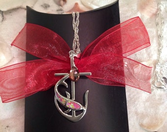 Sterling Silver Fire Opal Pink Topaz Necklace