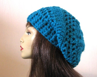Blue Slouchy Hat Knit Slouch Beanie Teal Crochet Cap Blue Slouch Beret Blue Knit Beanie Blue Slouch Tam Blue slouchy Beret Blue Crochet Hat