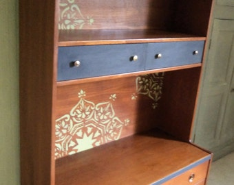 Bespoke wall unit solid wood early 1970's with hand painted mandala designs.