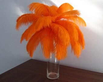 100 6-18inch Ostrich Feather  Wedding Decor Table Centerpiece Feather Centerpiece 30 colors ostrich feather Orange