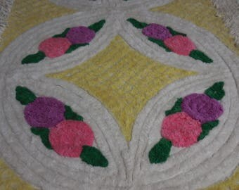 Vintage YELLOW and White Chenille RUG with Pink and Purple Lollipop FLOWERS and Wedding Ring and Diamond Designs - So Pretty