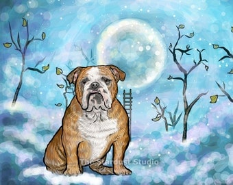 English Bulldog Print(8x10 inch, 12x16 inch, 16x20 inch Paper or Canvas prints) Art Luster Dogs Pets Evening Night sky Stars Cloud Nursery