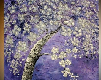 2 DAY SALE Large Oil Landscape painting Abstract Original Modern palette knife  Cherry Blossom Tree  impasto oil painting by Nicolette Vaugh