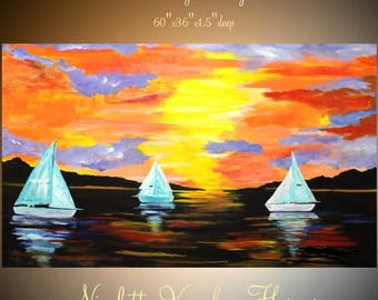 "Enormous Abstract painting,Original comtemporary Art,Sailing Away Ready to hang 60"" X 36""  by Nicolette Vaughan Horner"
