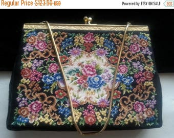 Now On Sale Black Flowered Clutch Handbag * Antique Evening Bag * 1940's 1950's Collectible Purse * Petit Point Purse