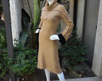 Vintage 1970's Ms. International Camel Colored Knit Dress - Size 4/6