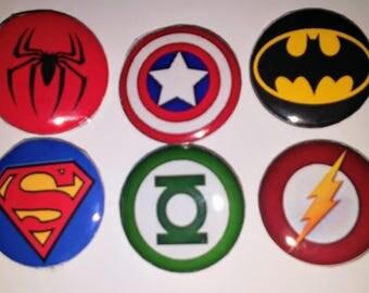 "superhero inspired button pin badges 1"" batman superman Spiderman captain America"