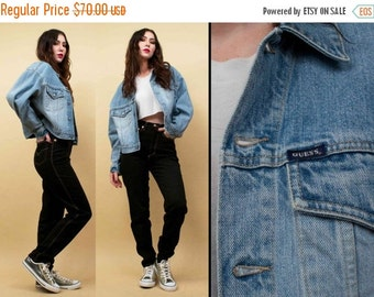 20%OFF 1DAY SALE 90s Vtg Guess Blue Light Wash Jean Denim Jacket / Classic Grunge Punk Collared Coat /