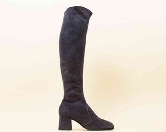 60s Vtg Deadstock Grey Blue SUEDE Genuine Leather Over The Knee High Boots / OTK GoGo Hippie Boho Chunky Platform 7 Eu 37.5