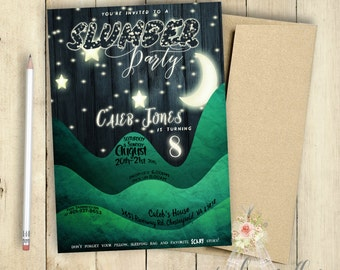 Slumber Party Invitation   Sleep Over Invitation   Boys Slumber Party Invitation   Birthday Party Invitation   PRINTABLE   Moon and Stars