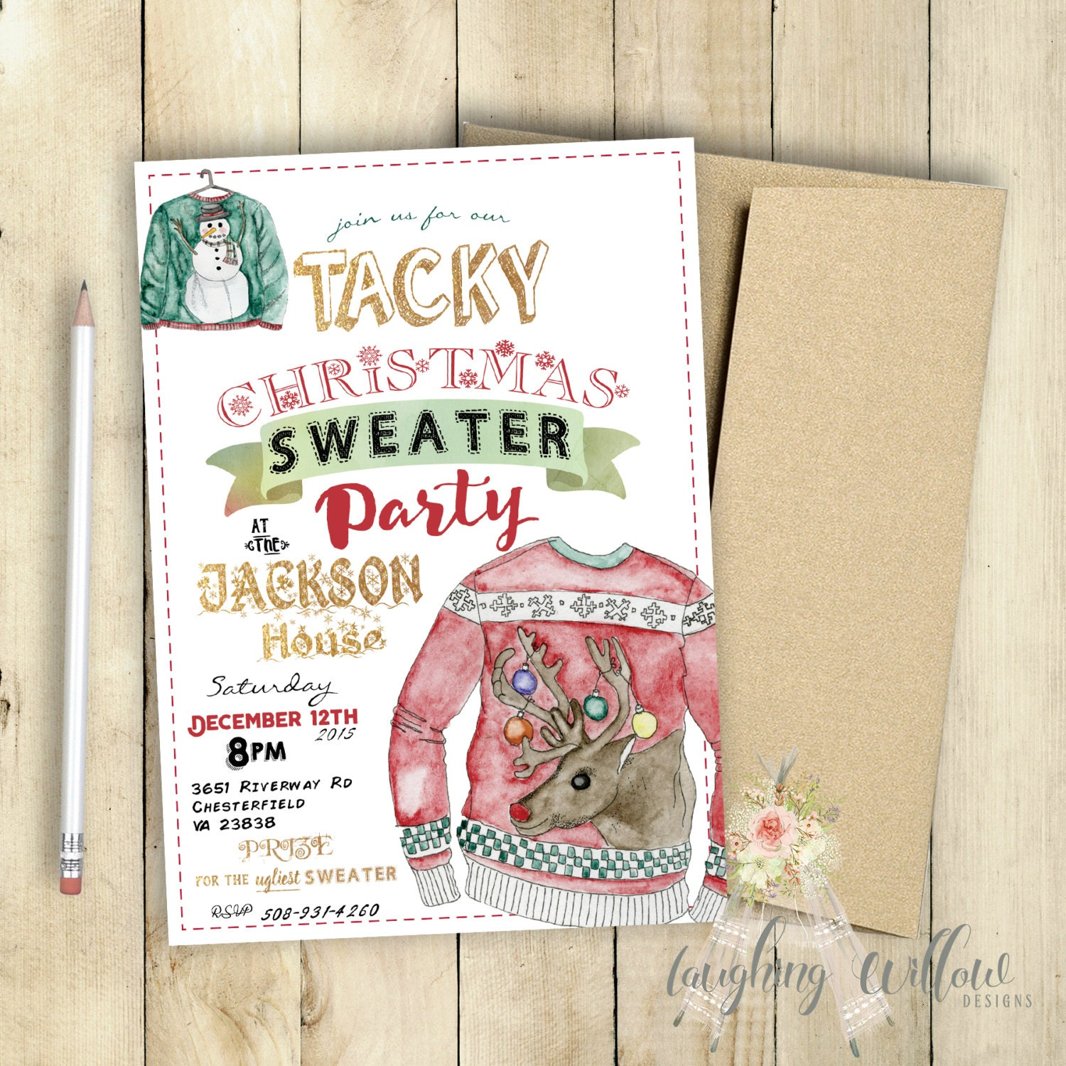 Christmas Jumper Party: Tacky Christmas Sweater Party Invitation Ugly Christmas