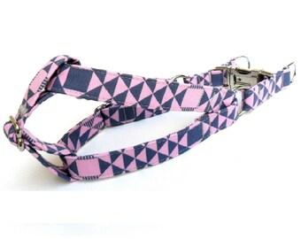 Geometric Pink Blue Dog Step in Harness