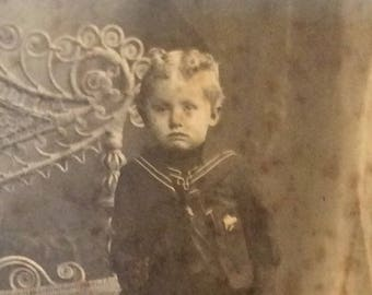 Victorian boy with man buns cabinet card photo