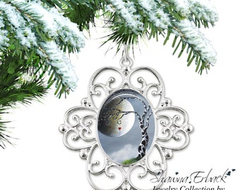 Tree of Life Christmas Tree Ornament -Whimsy Tree Ornament - Zebra Tree Ornament Full Moon Ornament with Fairy Tale Artwork by Shawna Erback