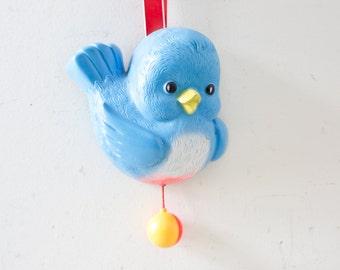 Fisher Price Bird Lullaby Pull String Bluebird Music Box  - Vintage Baby Toy Chime Toddler Blue Bird Musical Sleep