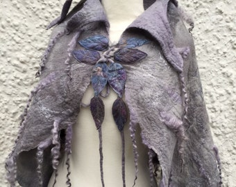 Custom made to order-Grey Elven cape-Made to order -Woodland Felted cape - Fairytale cape - elven cape - Fairy cape - cape-grey cape-gift