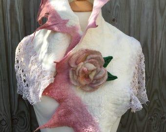 Faerie Flower Felted scarf-rose scarflace scarf - spring scarf- woodland scarf- bohoscarf-boho scarf-bridal-gift for her-bridal wrap-wedding