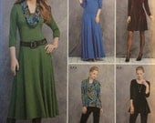 Simplicity 1018, Size 16-18-20-22-24, Misses'/Miss Petite Knit Dress in Three Lengths, Tunic, Pants and Cowl Pattern, UNCUT, Knit Fabrics