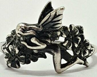 Vintage Art Nouveau Fairy and Flowers Ring