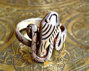 Vintage Sterling Silver Moroccan Snake Ring