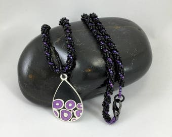 Woven Bead Necklace, Purple and Black Bead Work, Spiral Rope Bead Necklace, Pendant Necklace, Women's Gift,Gift for Her, One of a Kind