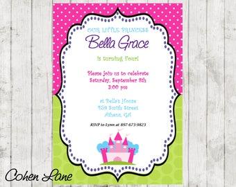 Colorful Princess Birthday Party Invitation.  Princess Party Invitation.  Hot Pink and Green Polka Dots.  Prince and Princesses.