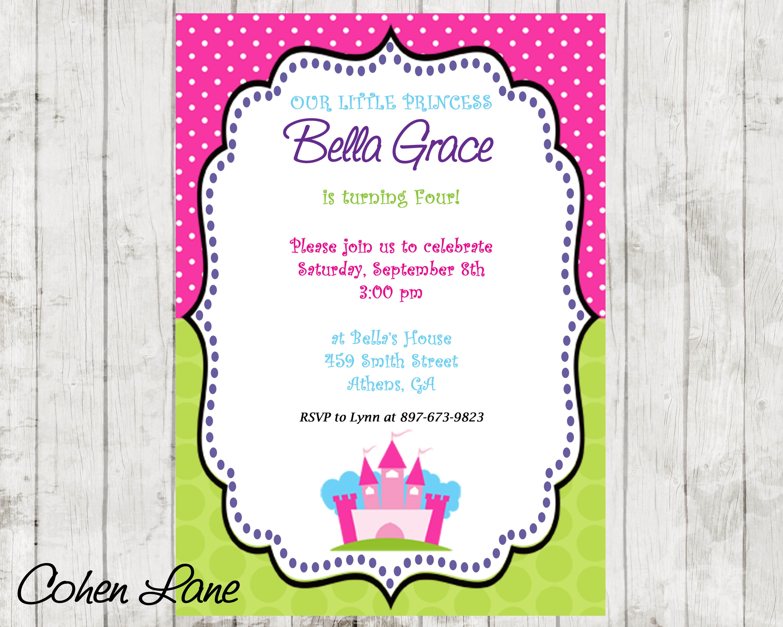 Colorful Princess Birthday Party Invitation. Princess Party
