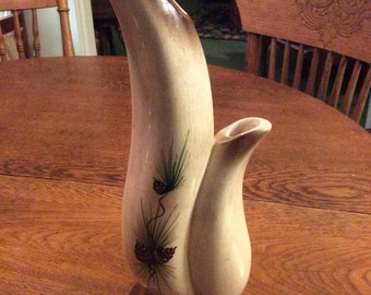 Vintage  USA vase double spout with pine ones
