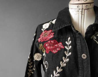 Vintage Black Denim Floral Embroidered  Shirt Men's Western Folk