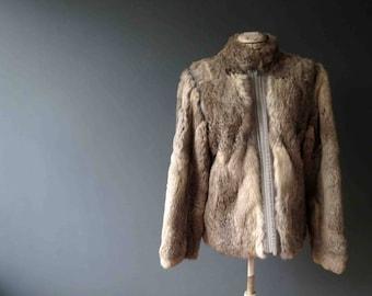 70s Grey Fawn Rabbit Fur Bomber Zip up Jacket Small Medium