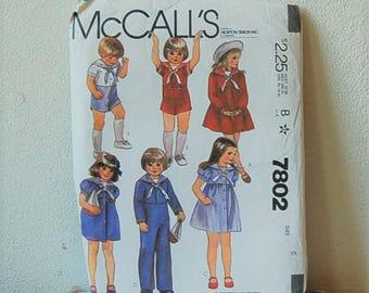 Vintage Children's Sailor Suits  Pattern McCall's 7802 UNCUT Size 6