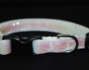 "Metallic Iridescent White Glitter - 3/8"" Adjustable Cat Collar"