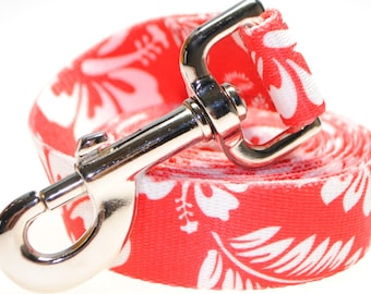 "Hawaiian Flowers 1"" Width  Leash - Red"