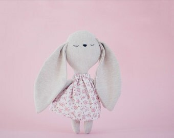 Little bunny girl handmade cuddly toy with flowers dress