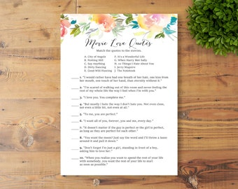 INSTANT DOWNLOAD, Printable Bridal Shower Game, Movie Quotes, Watercolor Flowers