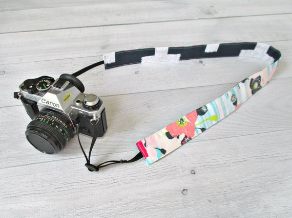 Cute Camera Strap | Reversible Floral Camera Strap for DSLR Camera with Pink and Aqua Flower