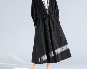 folds loose waist drawstring long linen windbreaker No button black coat